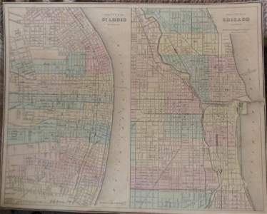 Hand colored Map of Chicago & St. Louis