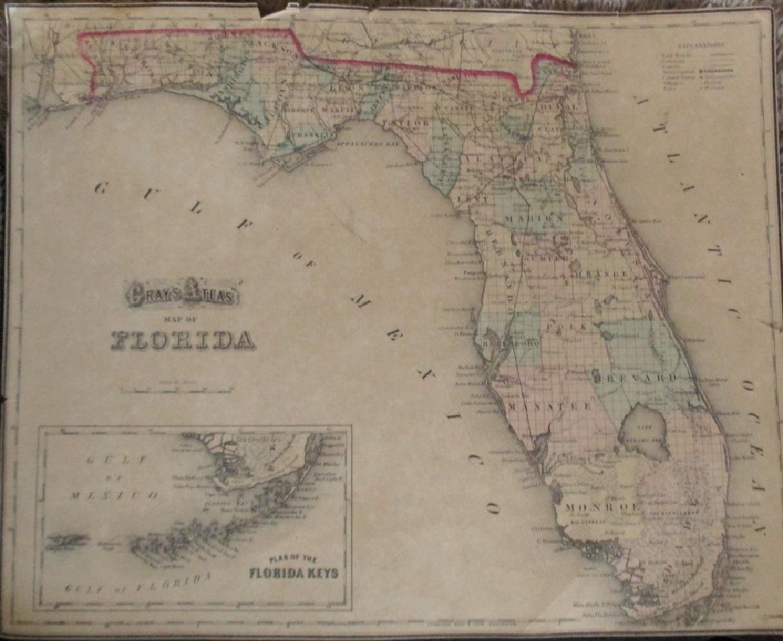 2 Hand Colored Maps - Florida & Alabama
