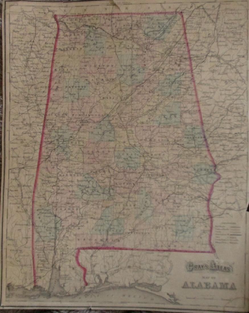 2 Hand Colored Maps - Florida & Alabama - 5