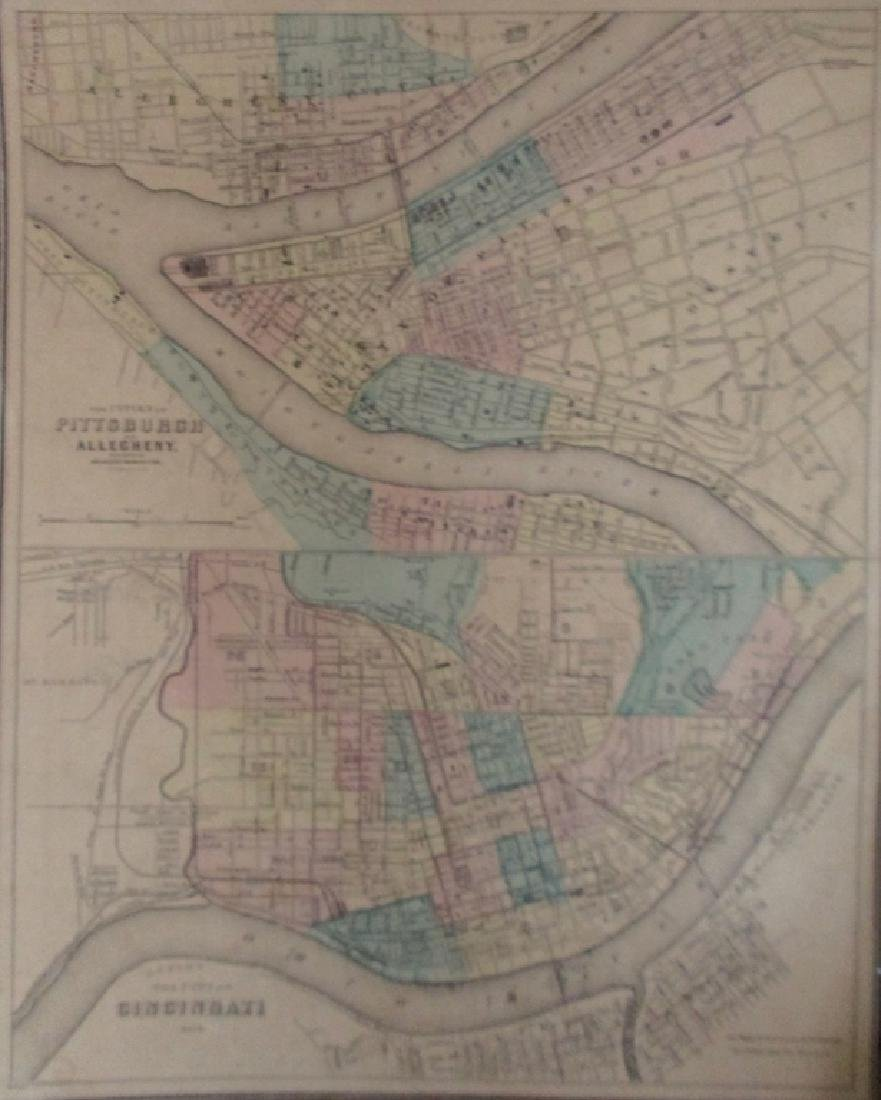 Hand colored Map of Pittsburgh & Cincinnati