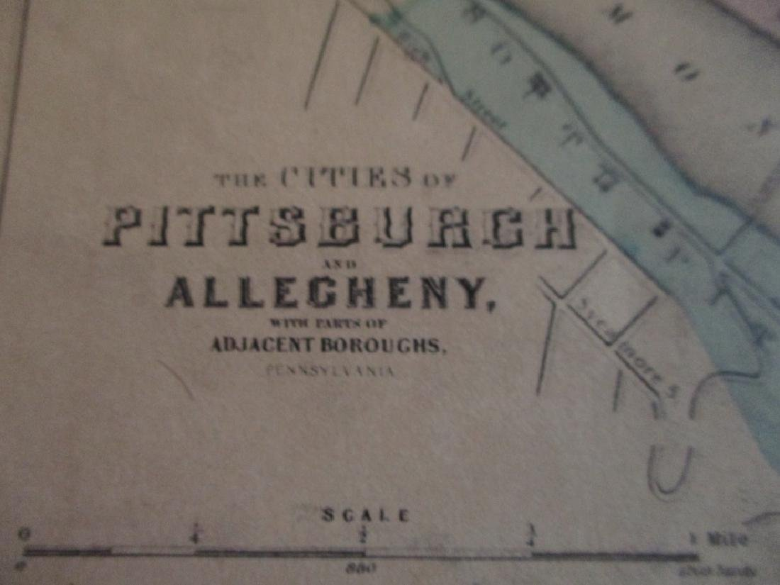 Hand colored Map of Pittsburgh & Cincinnati - 2
