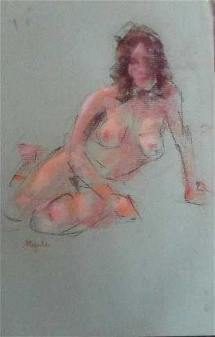 Nude Sitting -   Charles Stepule  1911 - 2006
