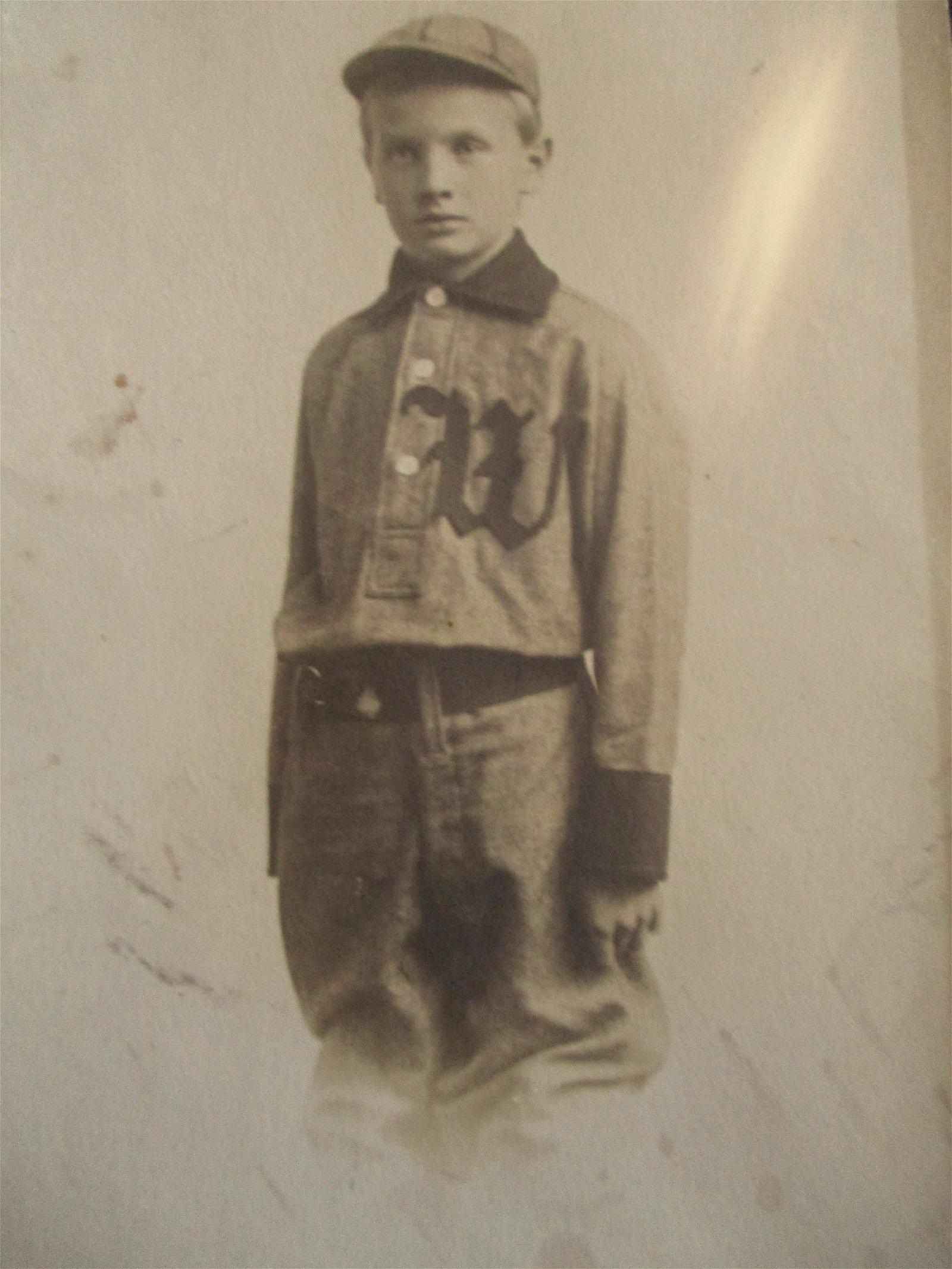 Rare Photo of Boy In Baseball Uniform