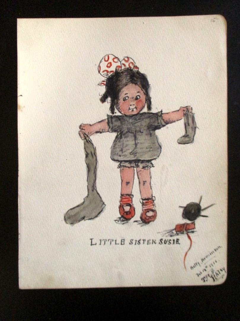 Little Sister Susie - 1916 - Two watercolors