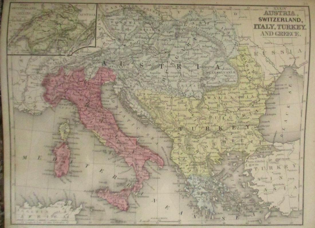 Map of Austria,Asia Turkey Switzerland Plus