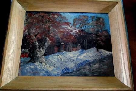 House & Barn in Winter (New Hope Pa School)