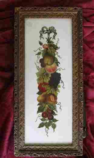 19th Century Painting on Milk Glass