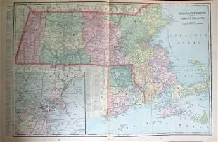 Large Map of Massachusetts & Rhode Island