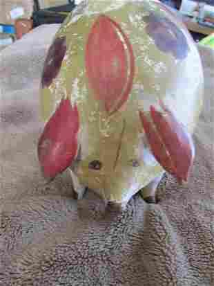 Folk Art Ceramic Pig Piggy Bank