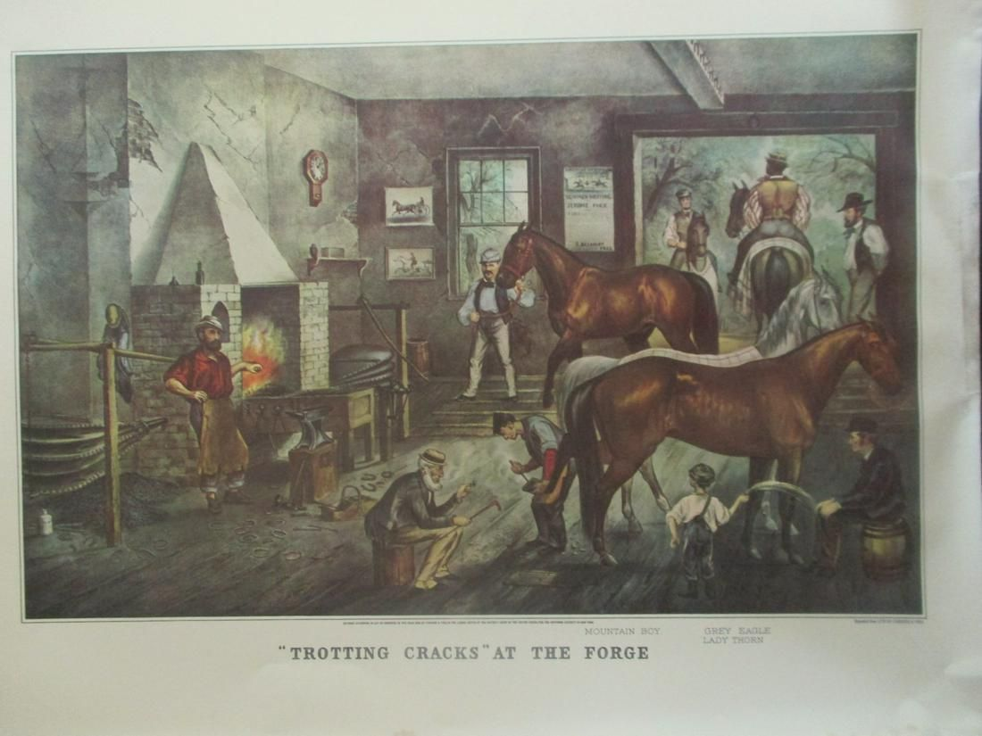 Trotting Cracks At The Forge - Currier Ives