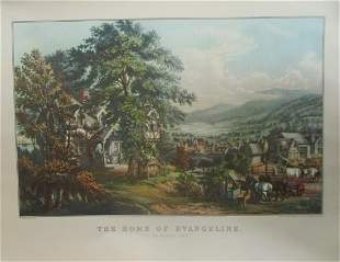 The Home of Evangeline -  Currier Ives