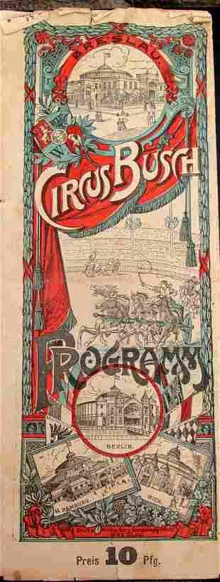 Circus Busch Program  - 1930's