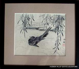 Black Bird Under Willow Tree - Japanese 19th Cent