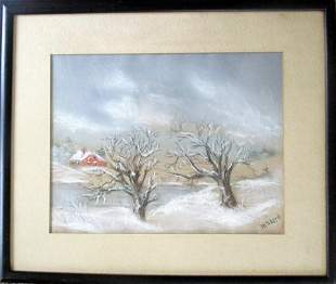 Winter At The Lake Homestead - M S Lord (American)