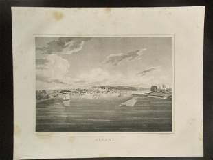 Early Panoramic View of Albany New York Harbour