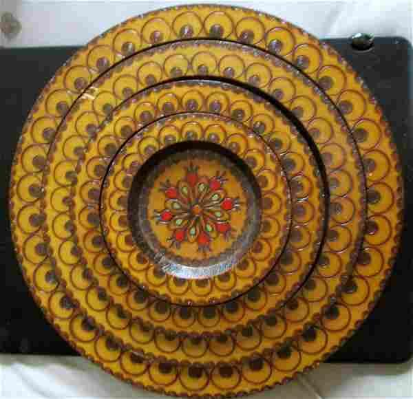 Folk Art Carved Polychrome Nested Trays