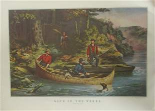 Life In The Woods - Starting Out - Currier Ives