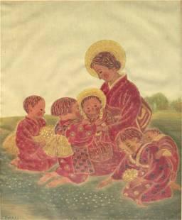 Koseki - Girl With Children - Kennedy Galleries