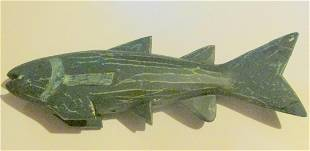 Folk Art Green Fish on Stand