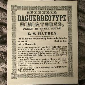 E. S. Hayden Daguerreotype Broadside