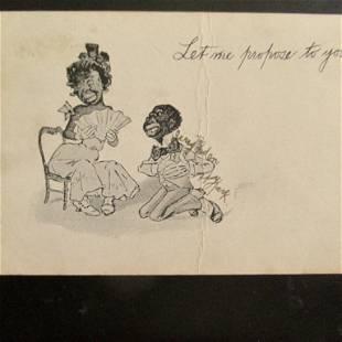 Let Me Propose To You - Black Americana Postcard