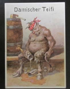 German Postcard of The Devil Signed