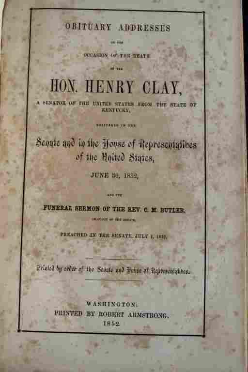 Obituary Addresses Hon. Henry Clay 1852