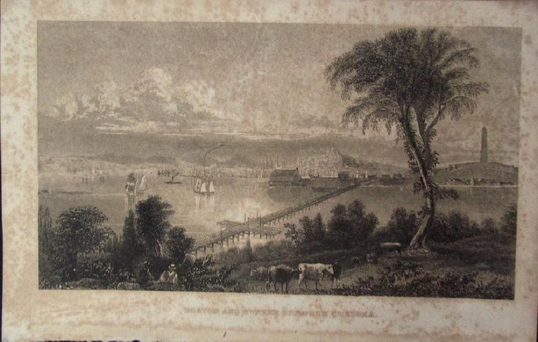 Early View of Boston & Bunker Hill Massachusetts