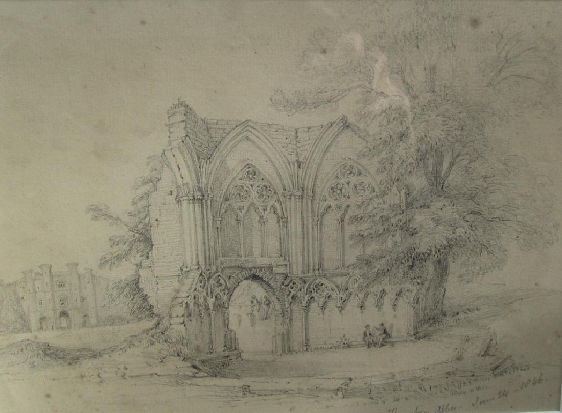 British Thornton Abbey - Graphite Sketch 1846