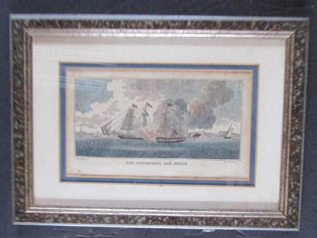 The Enterprize & Boxer - War of 1812 Engraving
