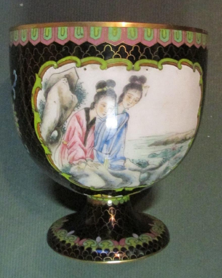 Chinese Cloisonne & Enamel Picture Goblet