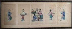 5 Chinese Export Pith Paintings Ladies of Court
