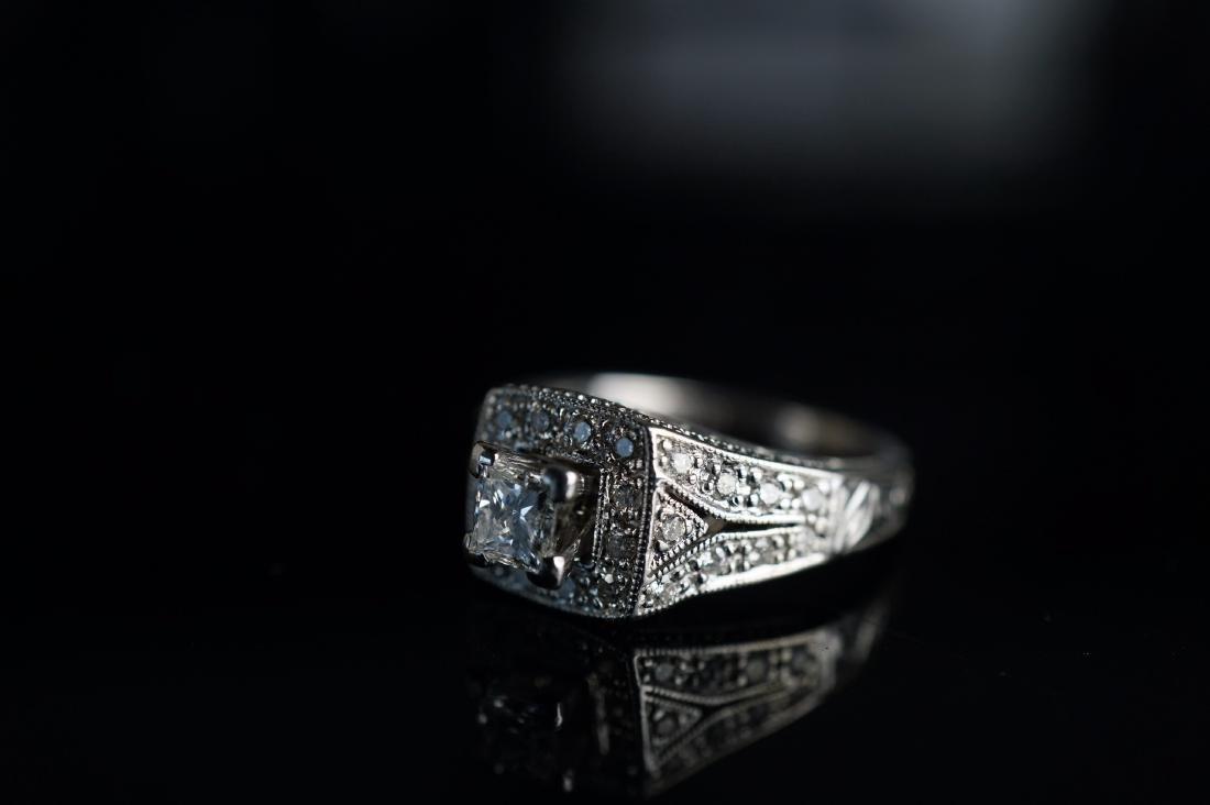 14k WG Art Deco Diamond Ring - 2