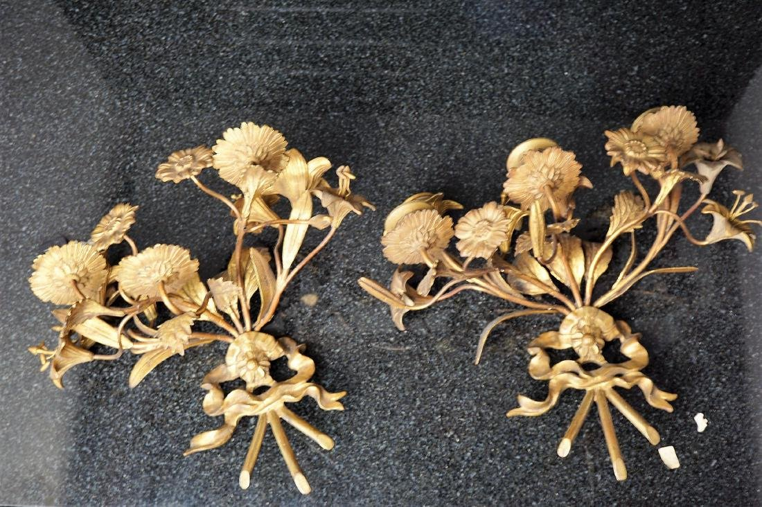 Pair of Floral Brass Sconces