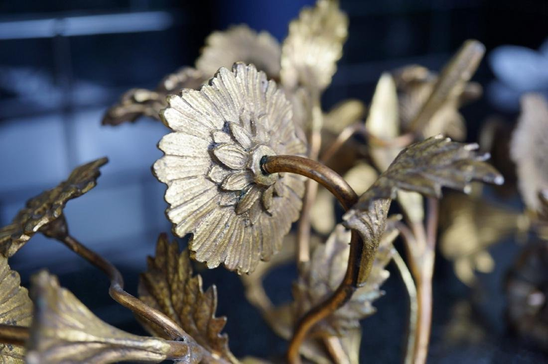 Pair of Floral Brass Sconces - 2