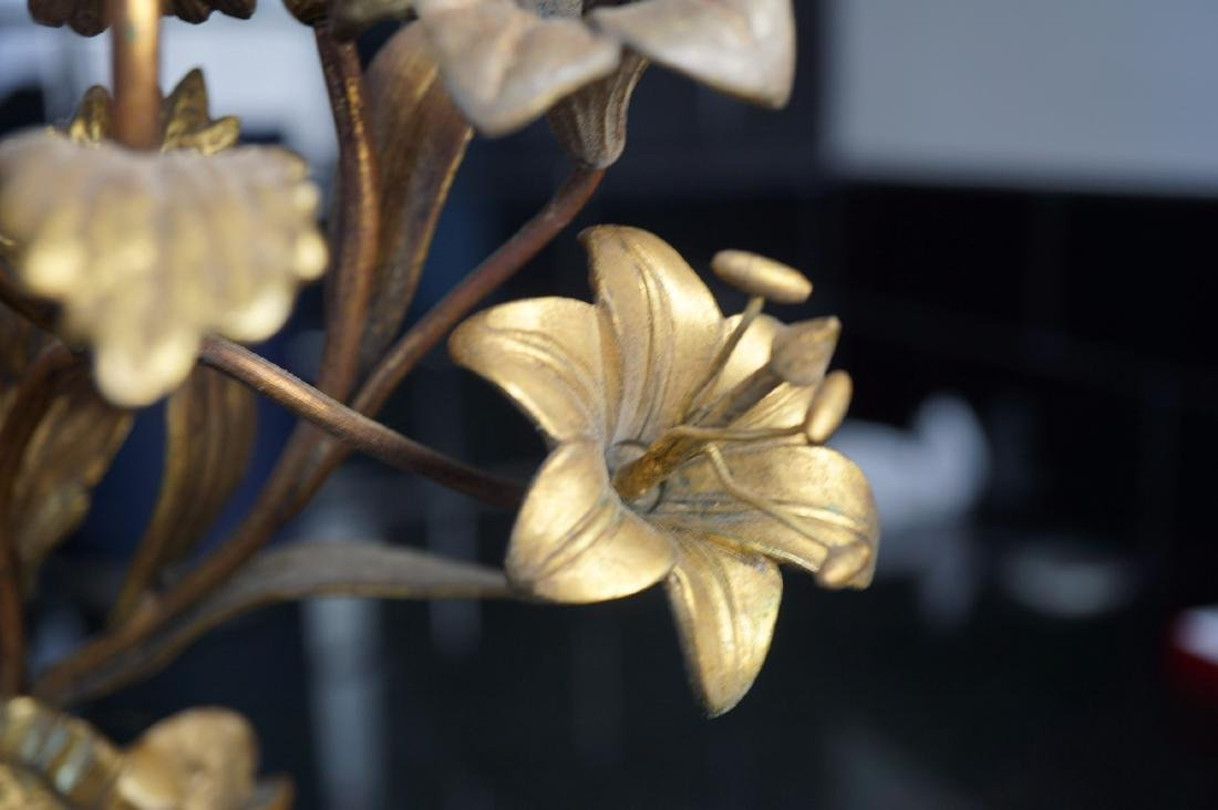Pair of Floral Brass Sconces - 3