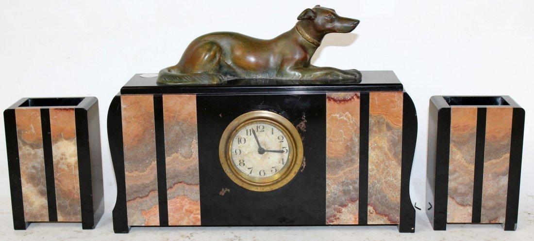 French Art Deco Garniture Clock Set (3 Piece)