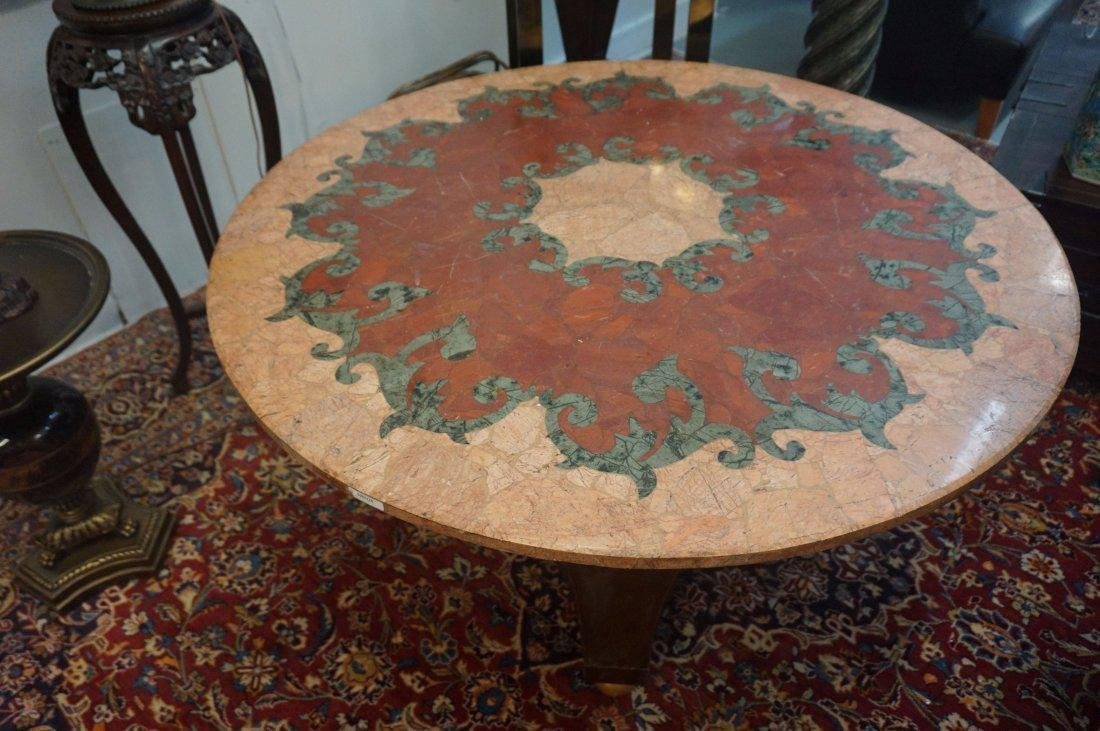 Round Inlaid Rouge and Verde Marble Table