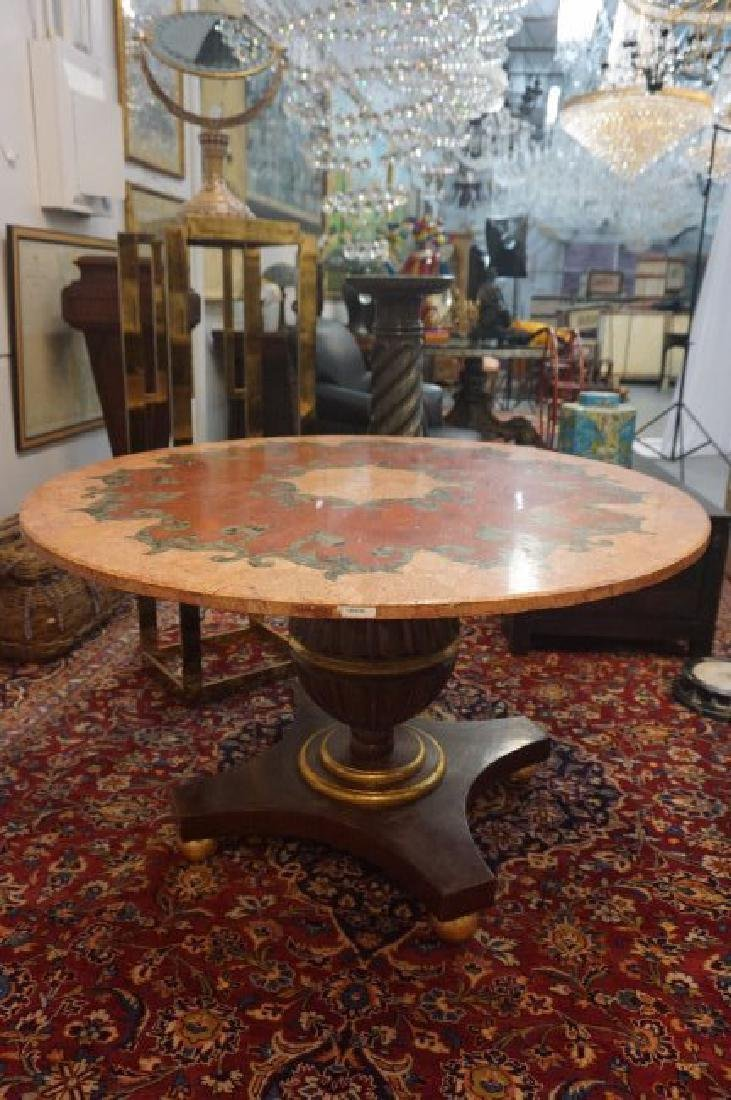 Round Inlaid Rouge and Verde Marble Table - 2