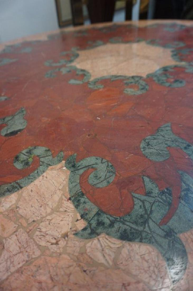 Round Inlaid Rouge and Verde Marble Table - 3