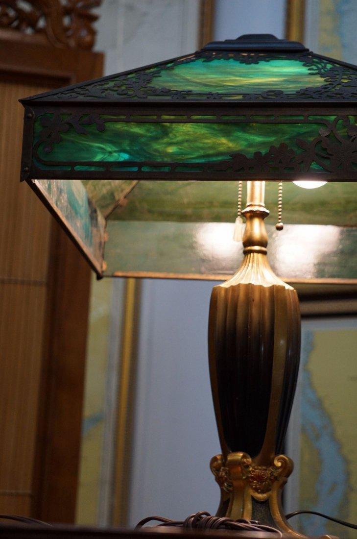 Green Slag Glass Lamp - 2