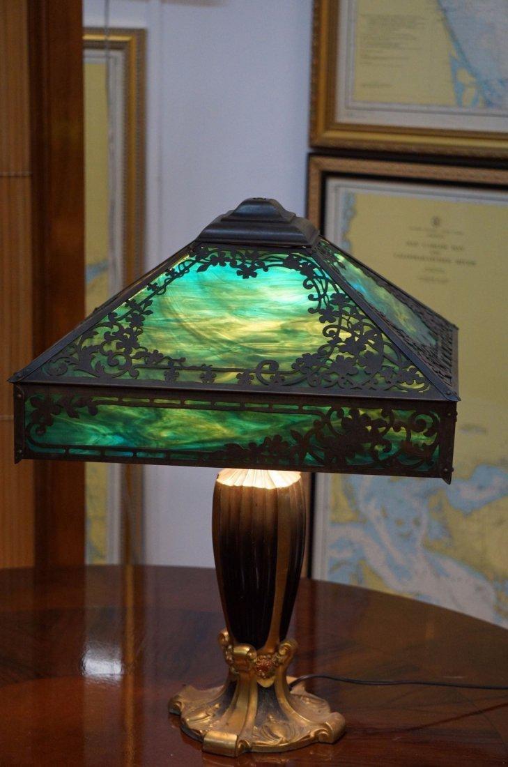 Green Slag Glass Lamp - 3