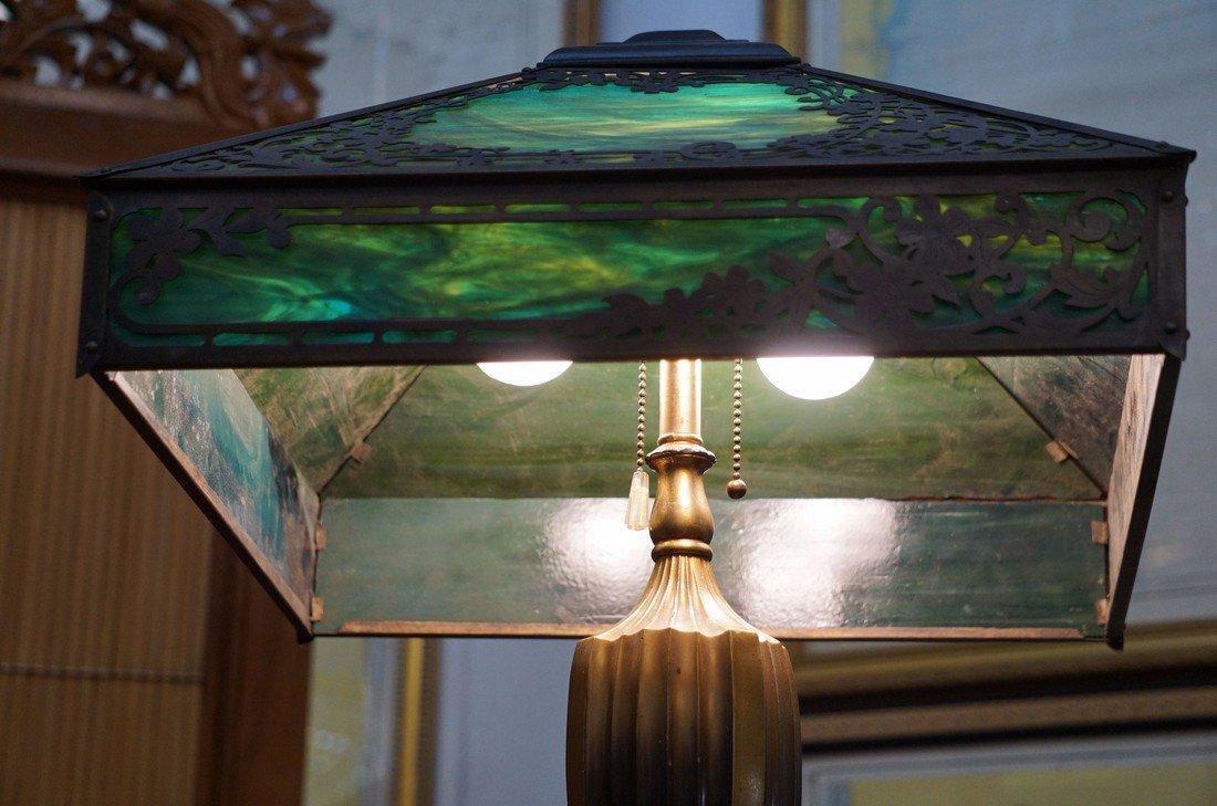 Green Slag Glass Lamp - 4