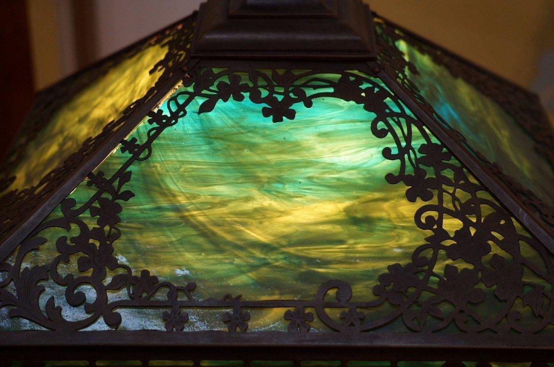 Green Slag Glass Lamp - 5