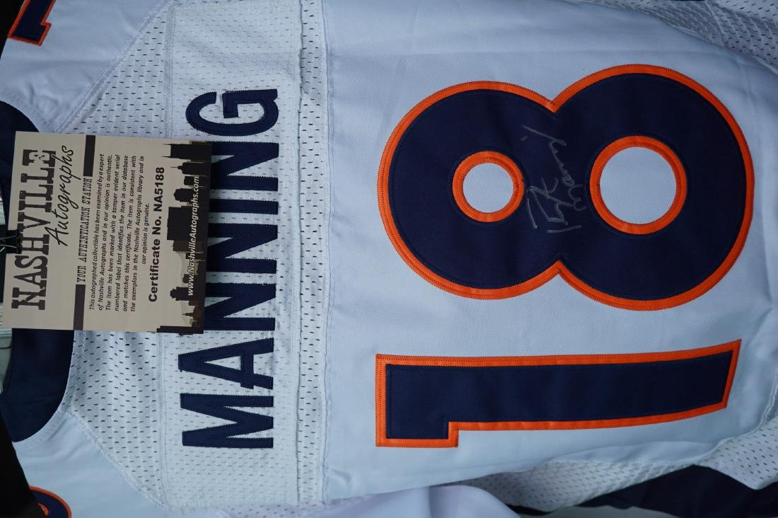 Signed Peyton Manning Broncos Jersey with COA - 7