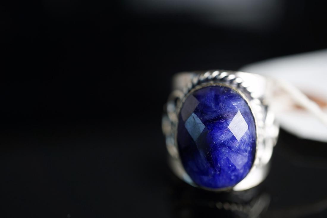 Designer Mine Cut Sapphire Ring - 2