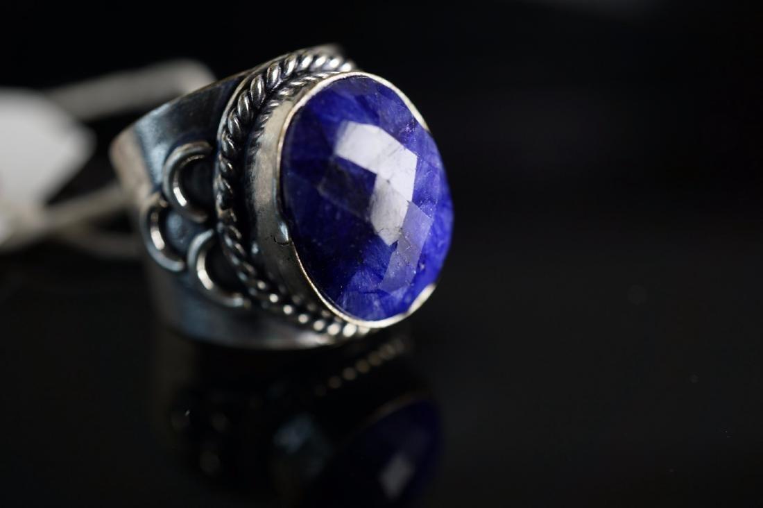 Designer Mine Cut Sapphire Ring - 3