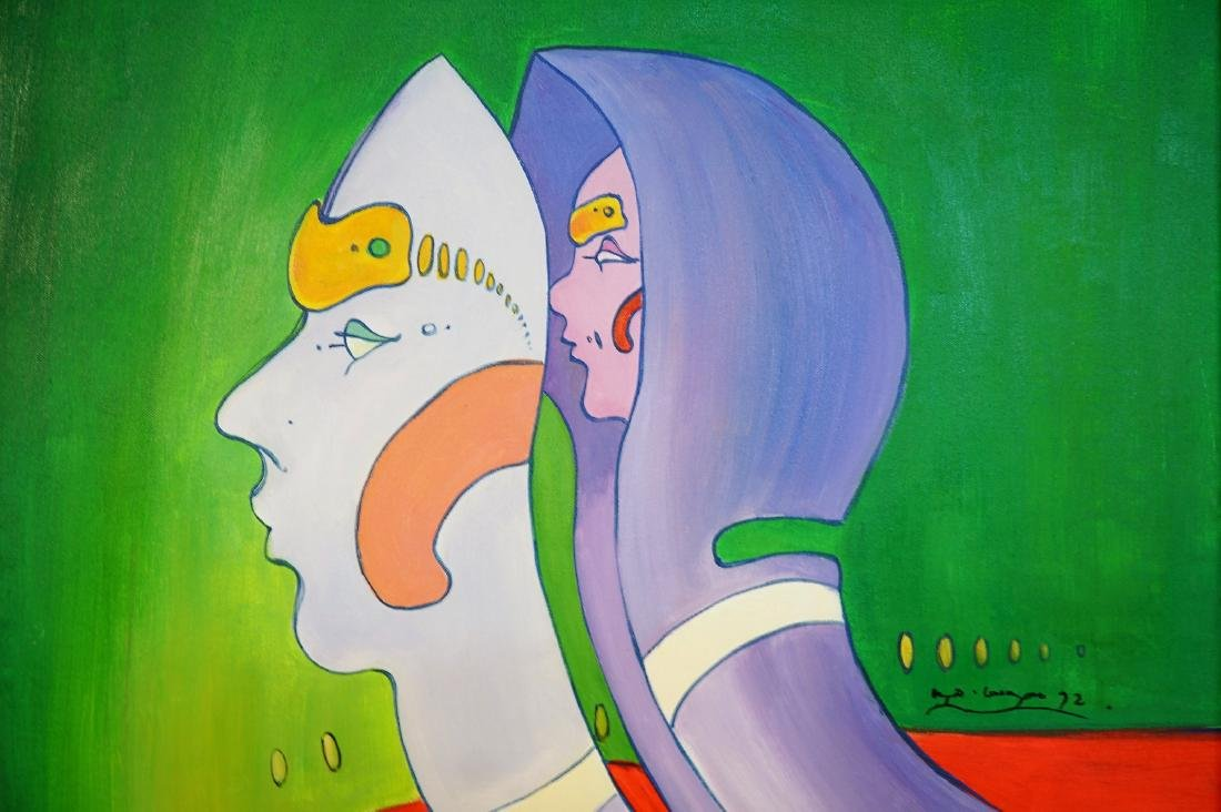 Original Oil on Canvas Attributed to Peter Max