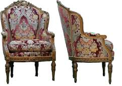 Pair of Antique French Carved Gilt Wood Chairs