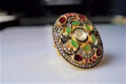 310 ct Diamond Rose Cut Palatial Ring